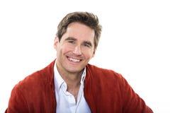 Reifes lächelndes Porträt der blauen Augen des gutaussehenden Mannes Stockfotos