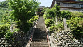 Reiganji temple, Japan. Stairs to Reiganji temple in Kurogi stock images