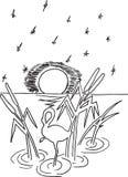Reiger in het moeras vector illustratie