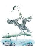 Reigervogel die Vissen vangen Stock Foto's