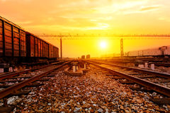 Reight train passing by on sunset beam Stock Image