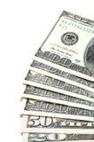 Reihe amerikanische Dollarscheine Lizenzfreies Stockfoto