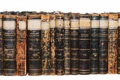 Reihe der antiken Bücher stockbilder
