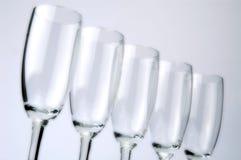 Reihe der Champagnergläser Stockbild