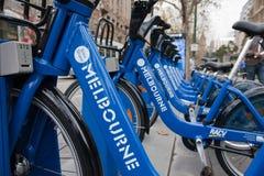 Reihe der Fahrräder - Melbourne-Fahrrad-Anteilentwurf Lizenzfreie Stockbilder