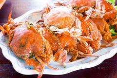 Reihe der gedämpften blauen Krabbe - Meeresfrüchte Stockfotografie