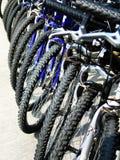 Reihe der geparkten Fahrräder Stockfotografie