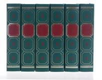 Reihe der grünen Bücher Stockbild