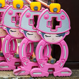 Reihe der japanischen Bausperre entwarf in der netten Zeichentrickfilm-Figur Lizenzfreie Stockfotografie