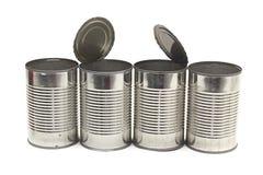 Reihe der leeren Nahrungsmitteldosen Stockbild