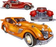 Reihe der Retro- Autos stockfoto