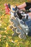 Reihe der Rollenfahrwerkbeine auf Gras Lizenzfreies Stockbild