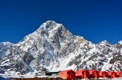 Reihe der roten Zelte, Weise vom Cho-Ladurchlauf zur Everest-Basis c Stockfotos