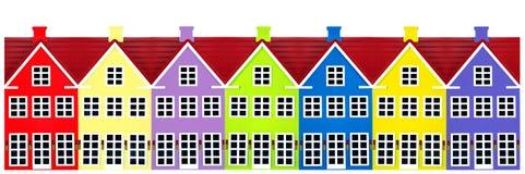 Reihe der Spielzeug-Häuser lizenzfreies stockfoto