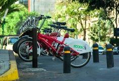 Reihe der Stadt fährt für Miete in Mexiko City, Mexiko rad Stockbilder