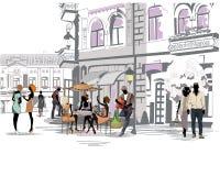 Reihe der Straßen mit Leuten in der alten Stadt lizenzfreie abbildung