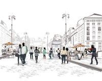 Reihe der Straßen mit Leuten in der alten Stadt stock abbildung