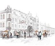 Reihe der Straßen mit Leuten in der alten Stadt vektor abbildung