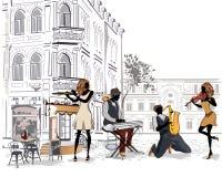 Reihe der Straßen mit Musikern in der alten Stadt lizenzfreie abbildung