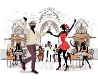 Reihe der Straßen mit Musikern und der Tanzenpaare in der alten Stadt stock abbildung