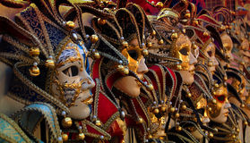 Reihe der venetianischen carneval Schablonen Stockbild