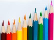 Reihe der verschiedenen Farbe. Stockfoto