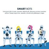 Reihe des intelligenten Roboters Sit Wait f?r Vorstellungsgespr?ch vektor abbildung