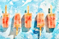 Reihe des selbst gemachten gefrorenen gefrorenen Meloneneises am stiel Lizenzfreies Stockbild