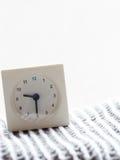 Reihe einer einfachen weißen analogen Uhr auf der Decke, 10/15 Lizenzfreie Stockfotos