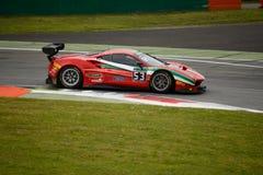 Reihe Ferrari 488 Blancpain GT, das in Monza läuft Lizenzfreies Stockfoto
