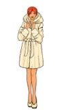 Reihe - Frau im Pelzmantel Stockbild