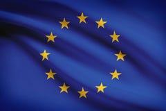Reihe gekräuselte Flaggen. Europäische Gemeinschaft. Stockfoto