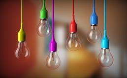 Reihe Glühlampen lizenzfreies stockbild