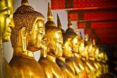 Reihe goldener Budda Statuen Stockbilder