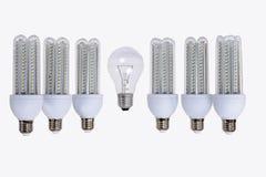 Reihe Lampen der neuen Generation LED stockbilder