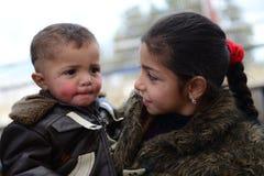 Reihe Porträts von Kindersyrerflüchtlingen stockfoto