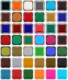 Reihe quadratische Ikonen oder Knöpfe Stockbild
