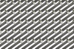 Reihe silberne Maschinenbolzen in einem symmetrischen Klaps Lizenzfreie Stockbilder