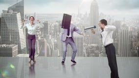 Reihe springende Geschäftsleute in der Zeitlupe lizenzfreie abbildung