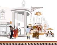 Reihe Straßencafés in der Stadt mit einem Koch und Stockfoto