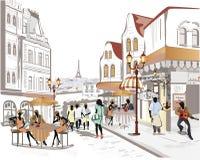 Reihe Straßencafés in der Stadt mit Leuten lizenzfreie abbildung