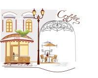 Reihe Straßenkaffee Stockbild