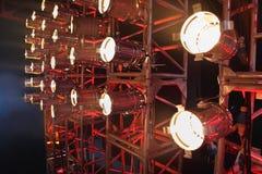 Reihe vieler Projektoren Stockfotografie