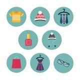 Reihe von acht flachen Ikonen die Kleidung und Stockfotografie
