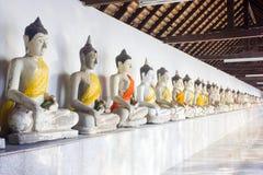 Reihe von altem Buddha stockfoto