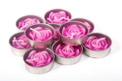 Reihe von aromatischen Kerzen Stockfotografie