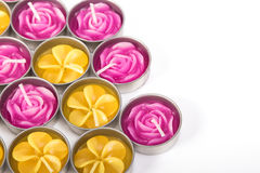 Reihe von aromatischen Kerzen Lizenzfreie Stockfotos