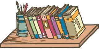 Reihe von Büchern auf Regal Stockbilder