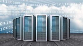 Reihe von blauen Servern und von abstrakten binären Linien stock abbildung