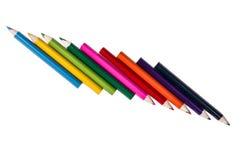 Reihe von Bleistiftfarben auf einem weißen backgroiund Lizenzfreie Stockbilder